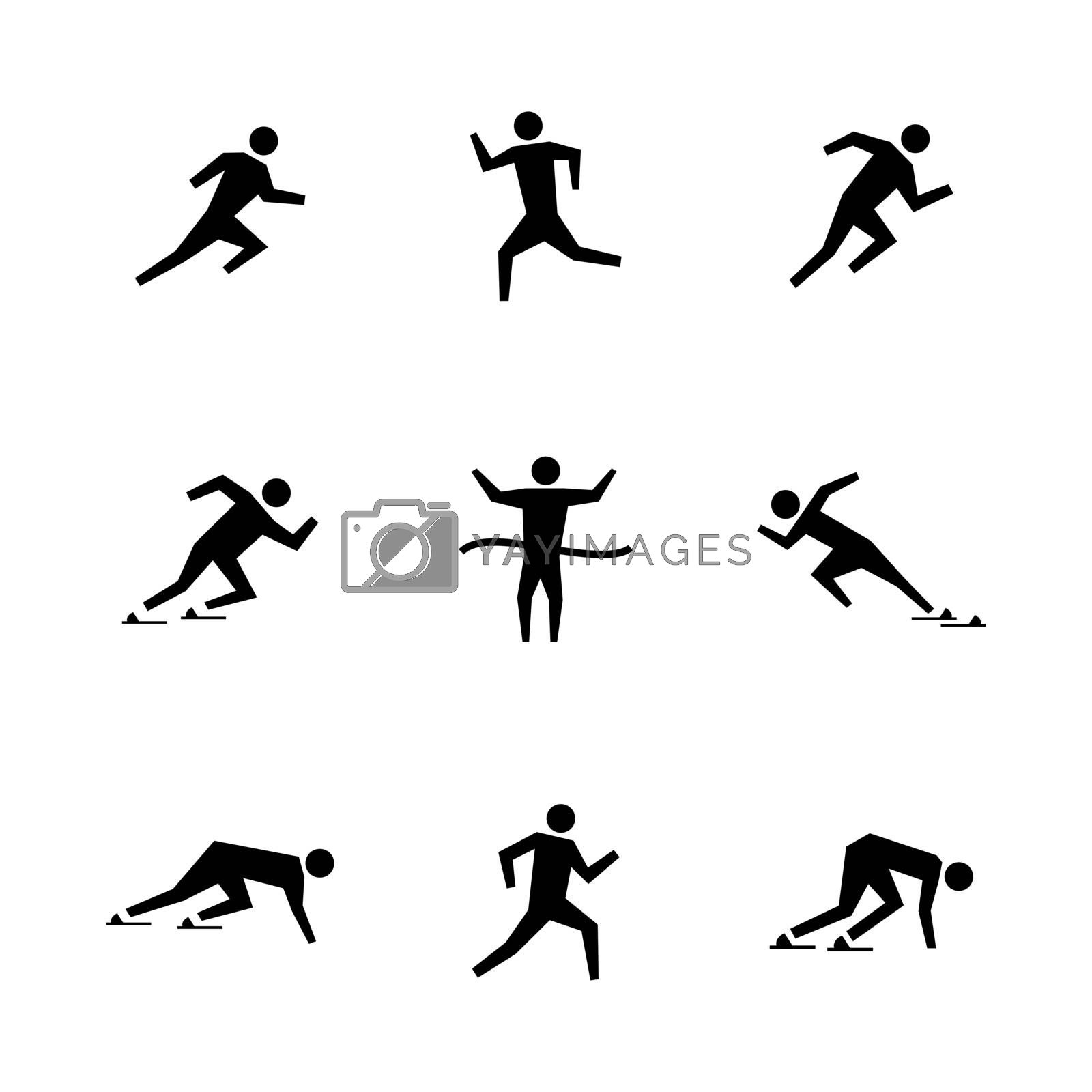 Set stick figures of runners, vector illustration. by kup1984