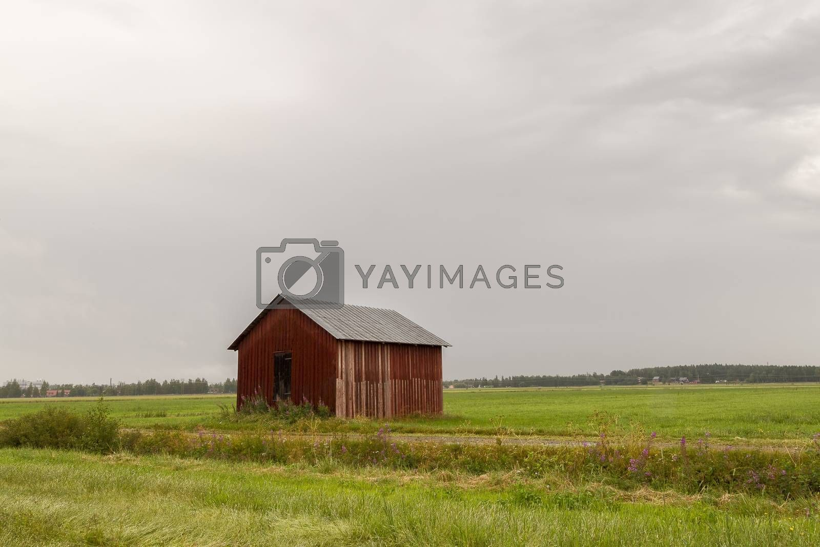 Red Barn in Green Field with a cloudy sky.
