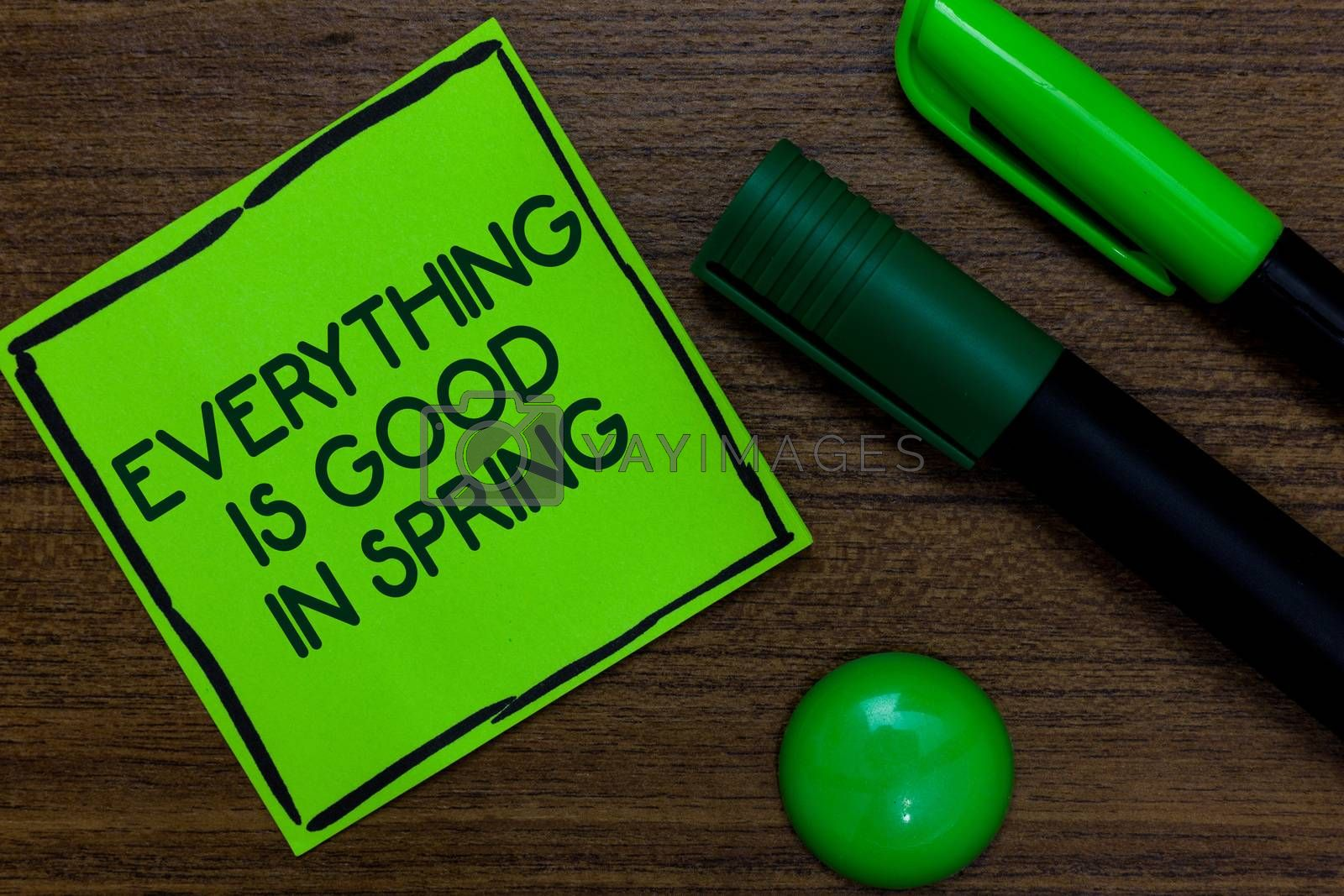 Text sign showing Everything Is Good In Spring. Conceptual photo Happiness for the season Enjoy nature Written on sticky note two markers laid on wooden floor green ball