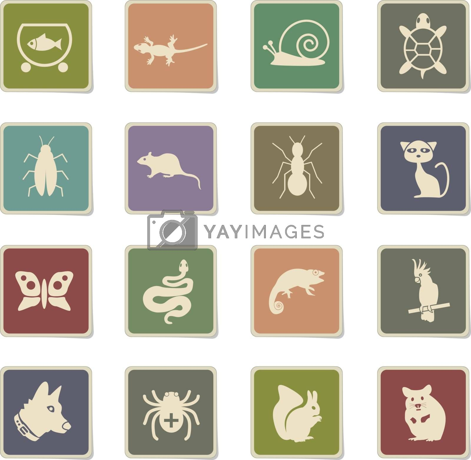 pets web icons - paper stickers for user interface design