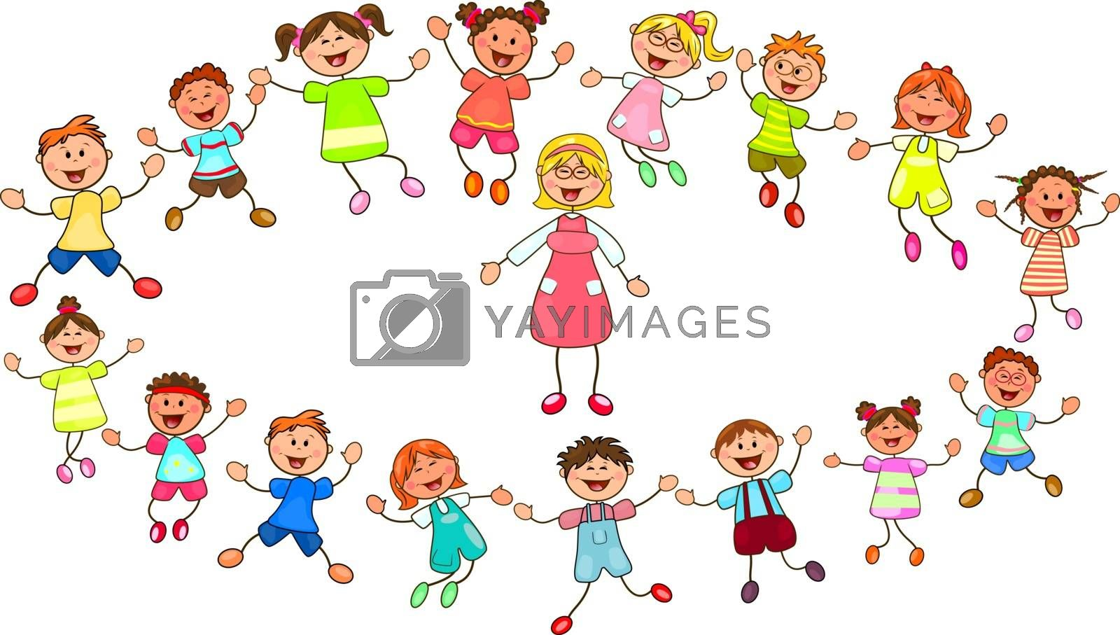 Joyful little children and a teacher. A group of children with a teacher on a walk. Group of cheerful, smiling children on a white background. Cartoon joyful children. Group of happy, smiling children.