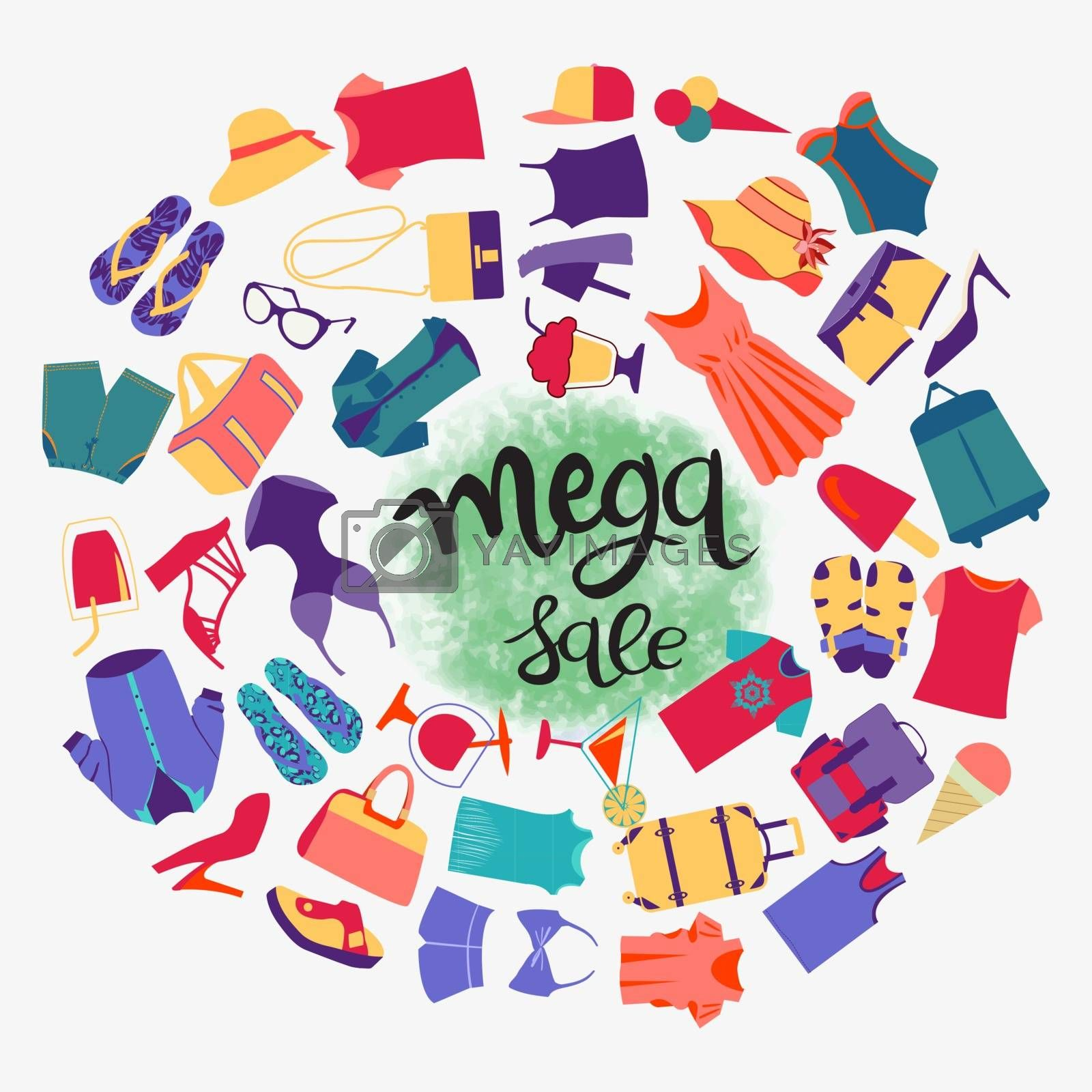 Vector colorful illustration of  summer shopping theme. Fashion boutique big sales mega sale hand-drawn lettering background