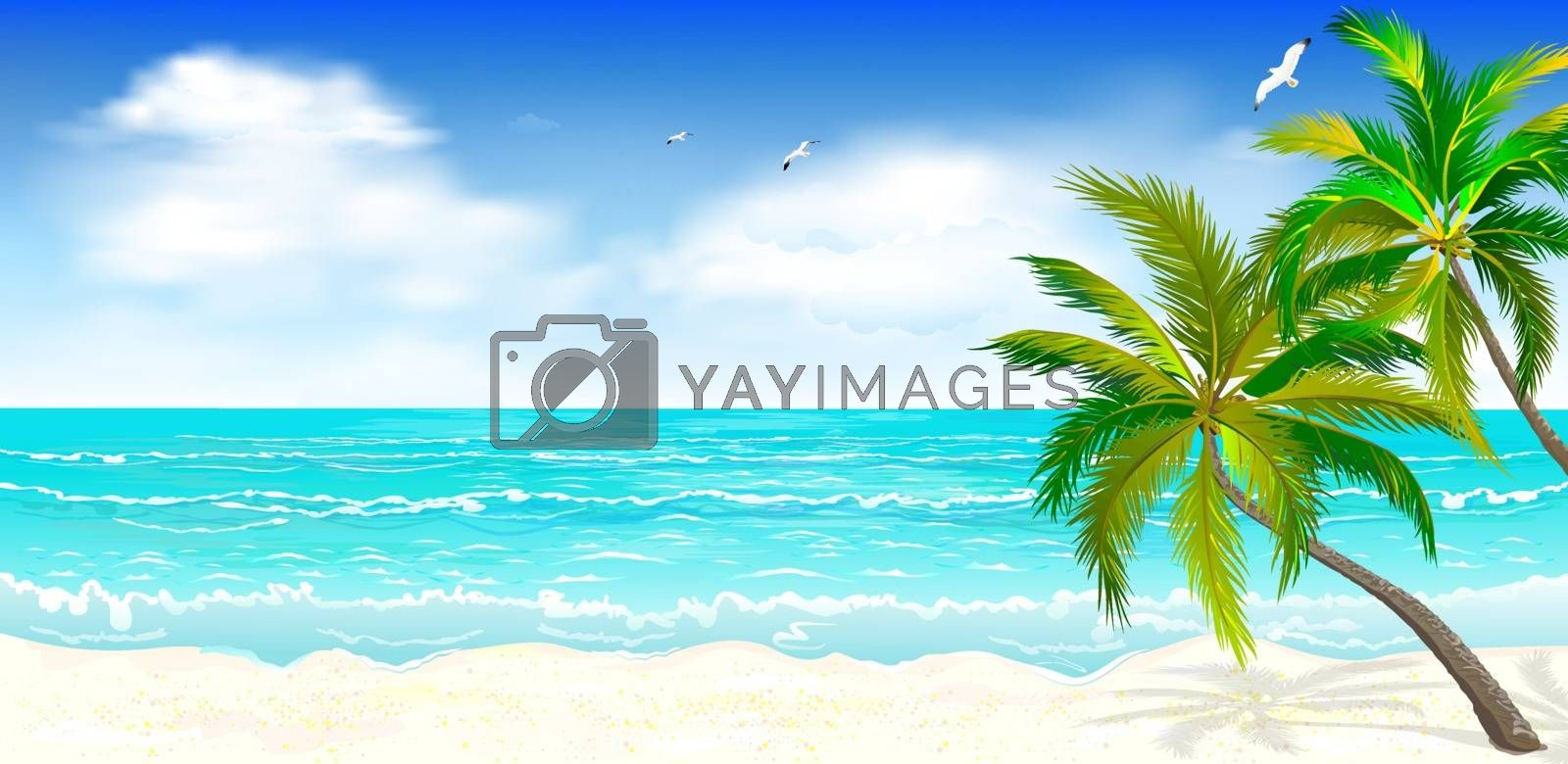 Tropical beach, palm trees 1 by liolle