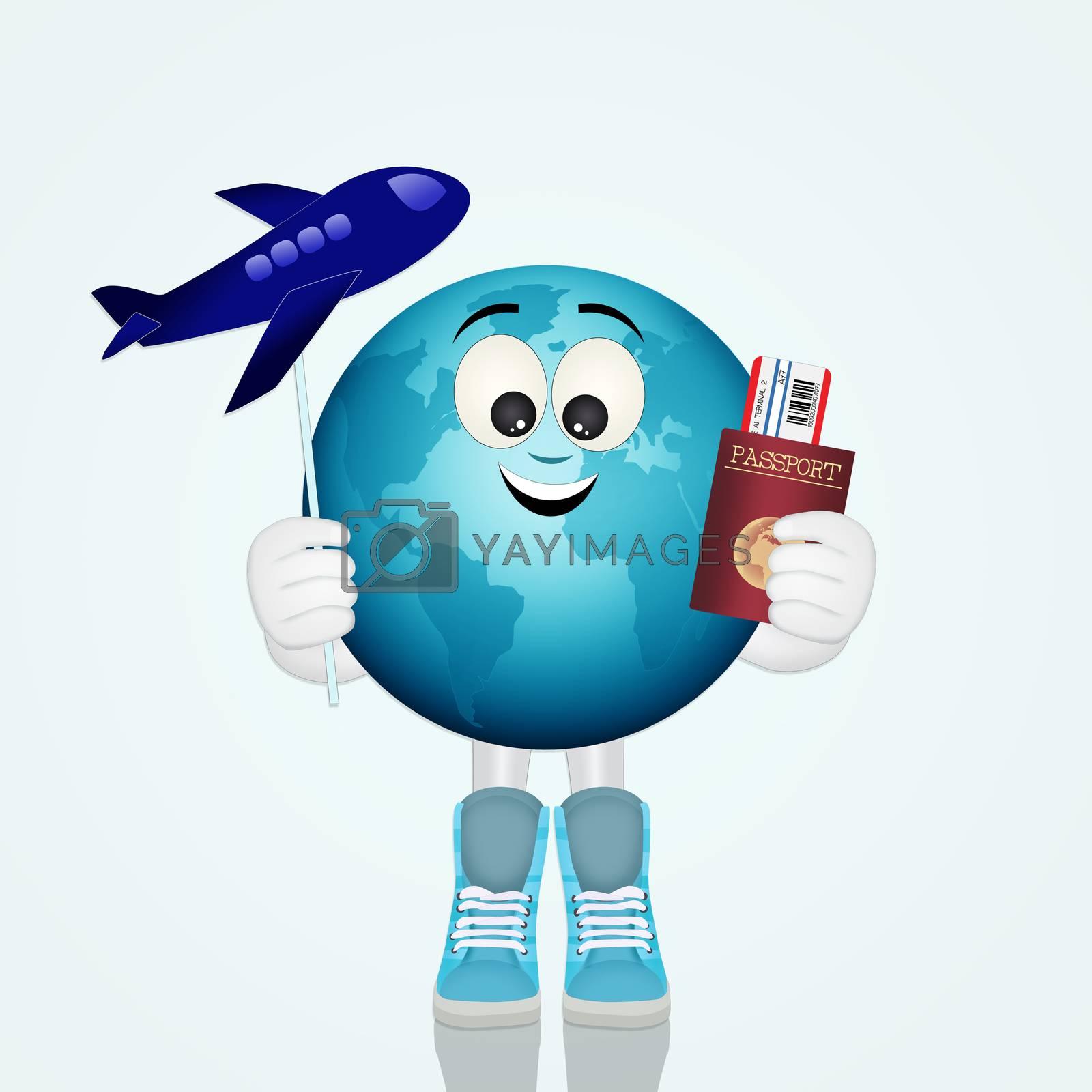 illustration of funny world travel