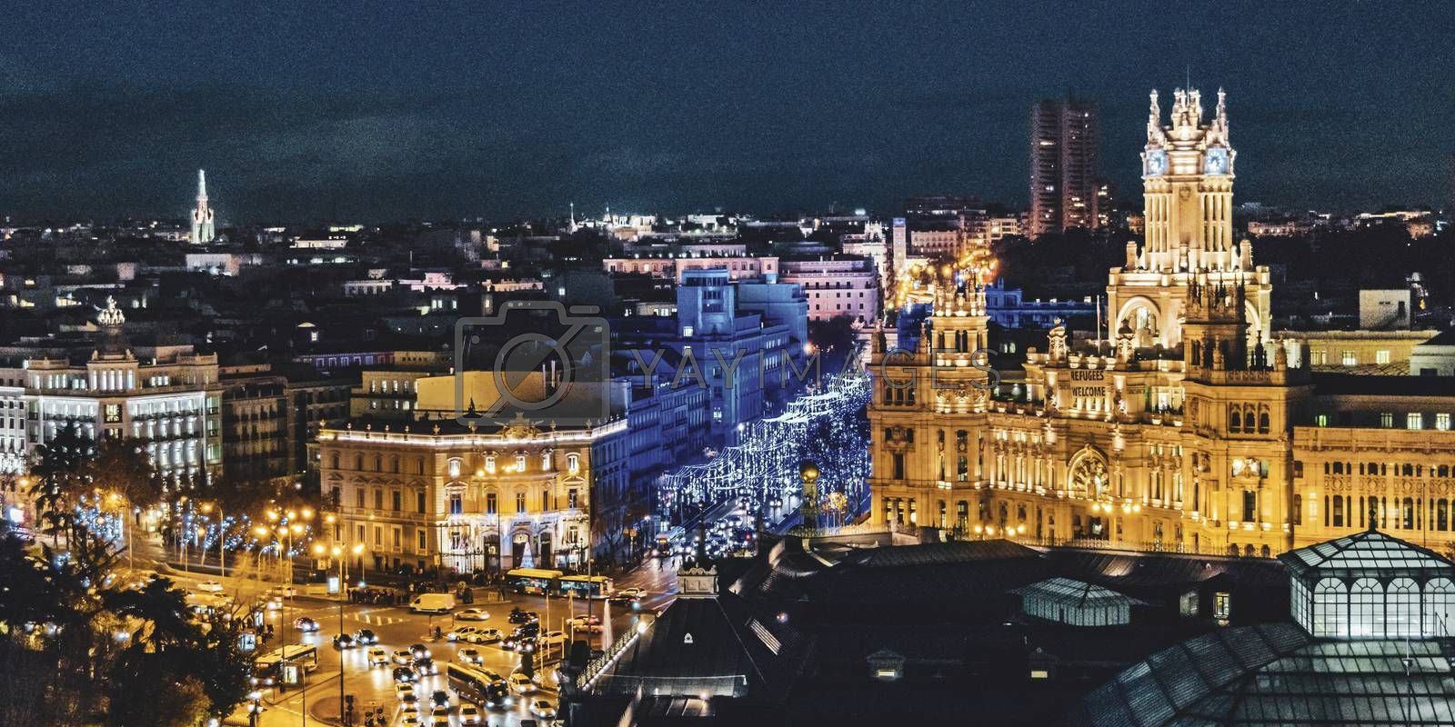 Aerial view of madrid city from fine arts circle viewpoint bar.