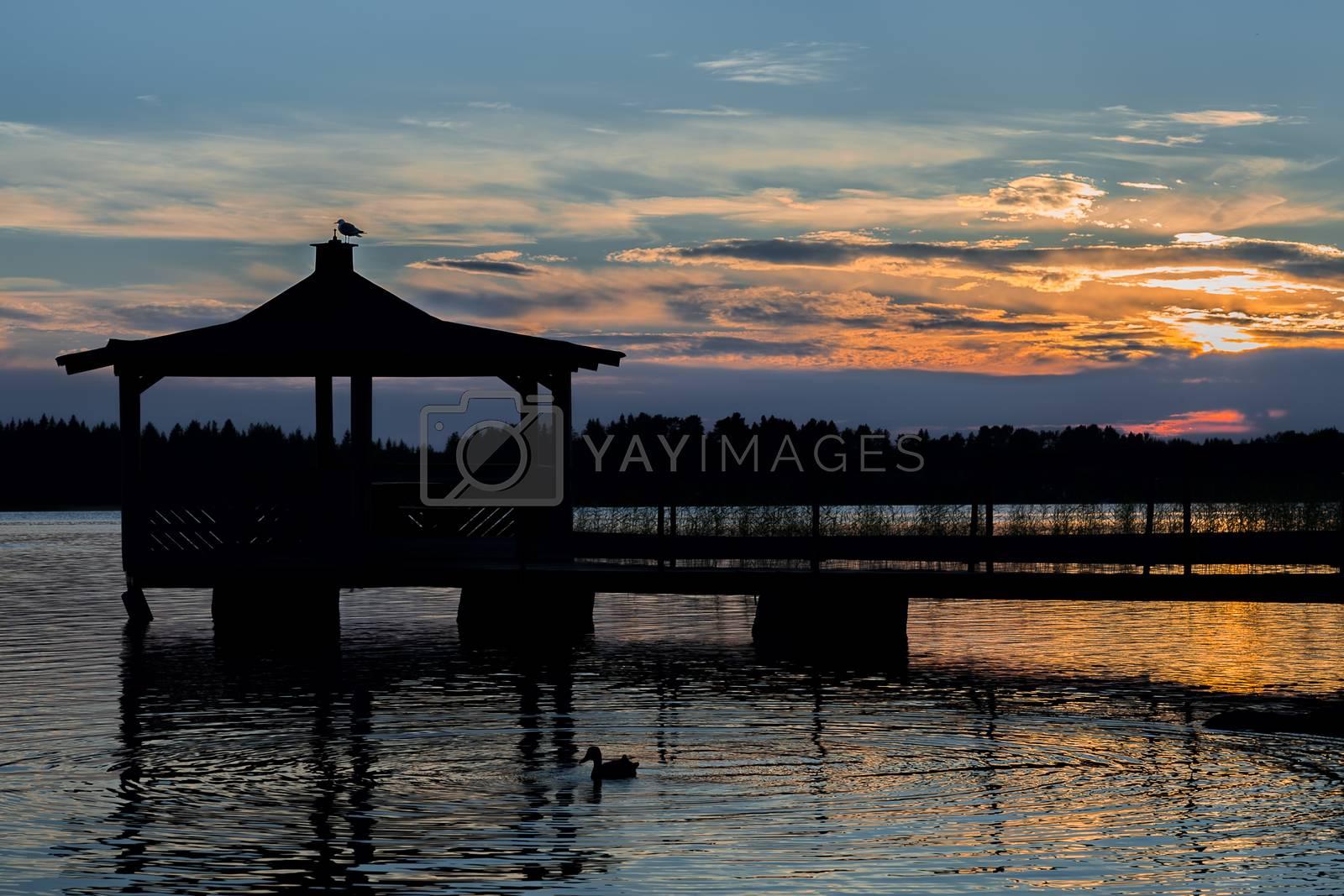 Gazebo in Lake with Mallard Duck in Water at Sunset.