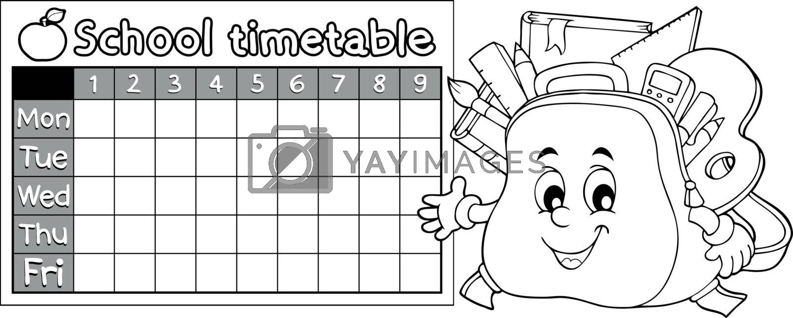 Coloring book timetable topic 9 - eps10 vector illustration.