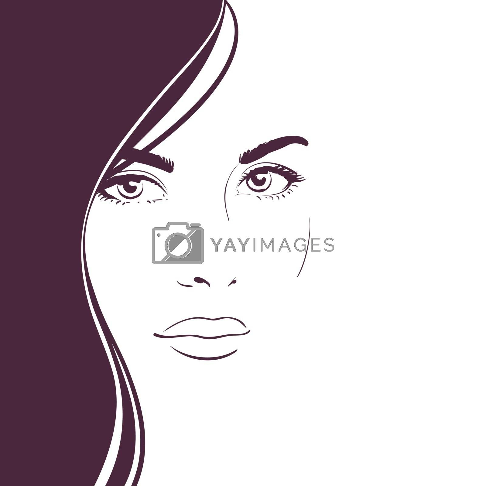 Young woman face with long dark hair. Contrast black and white composition for design of an advertising banner