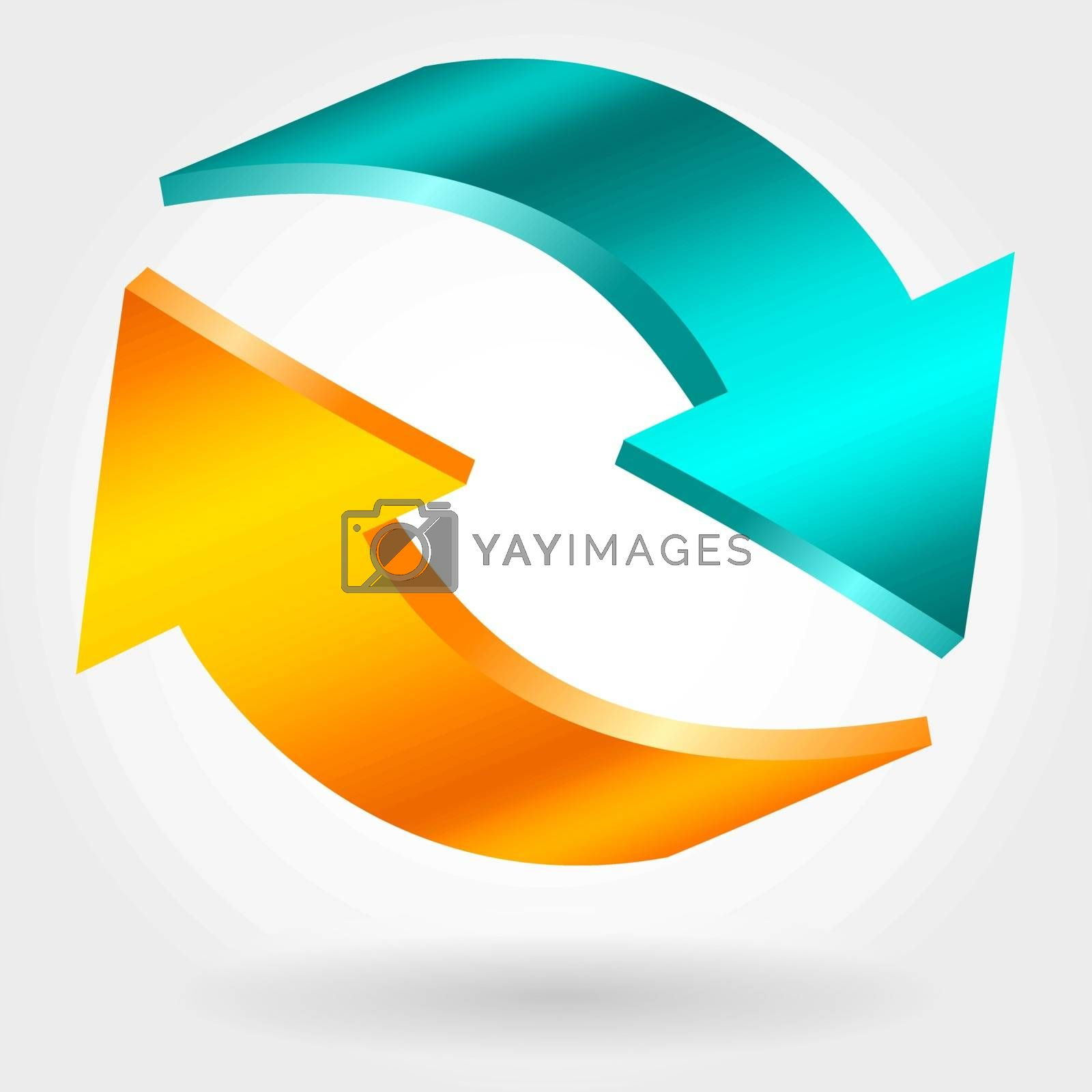 Counter blue and orange arrows. Photorealistic 3d illustration. Exchange and recovery symbol