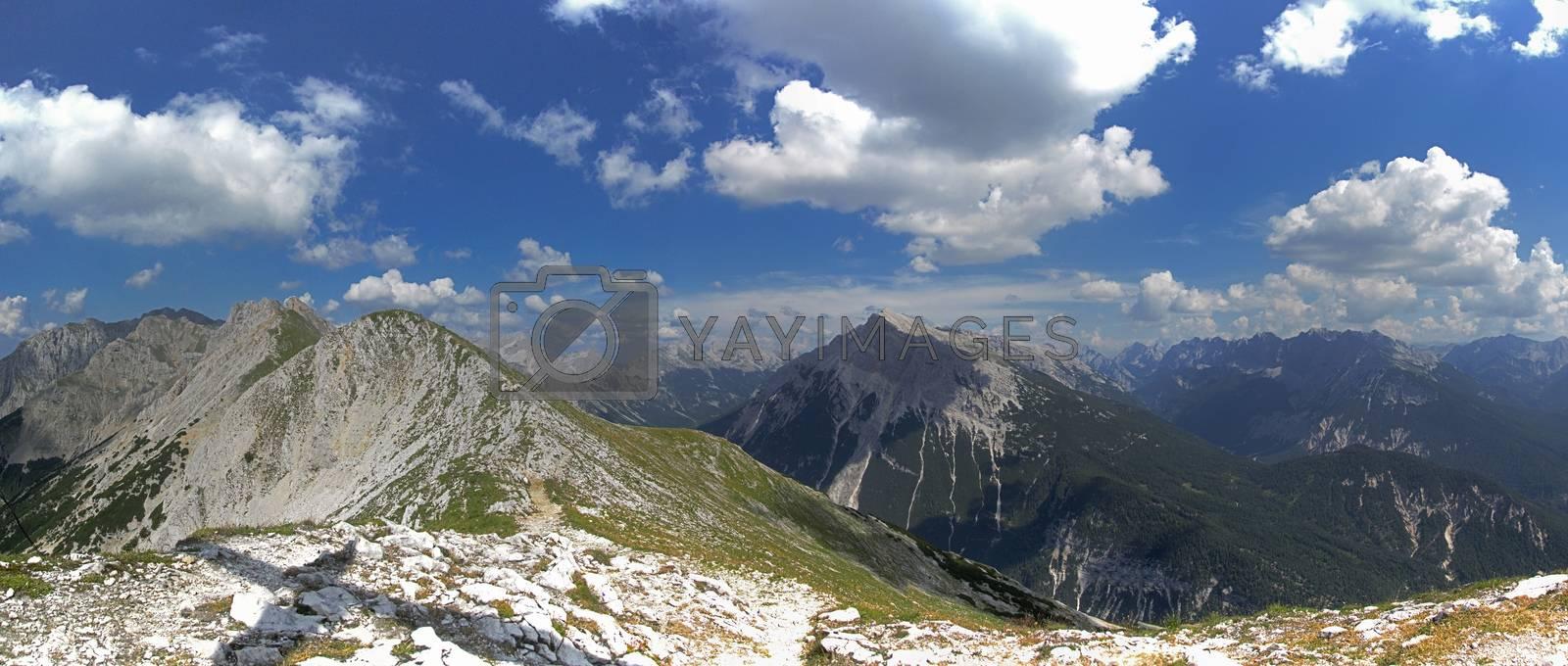mountain ridge part of the via ferrata Mittenwald