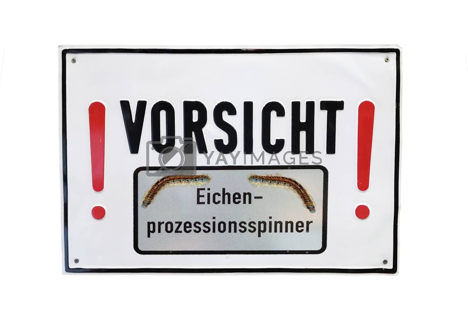 Warning sign with inscription in german - beware oak processionary moth