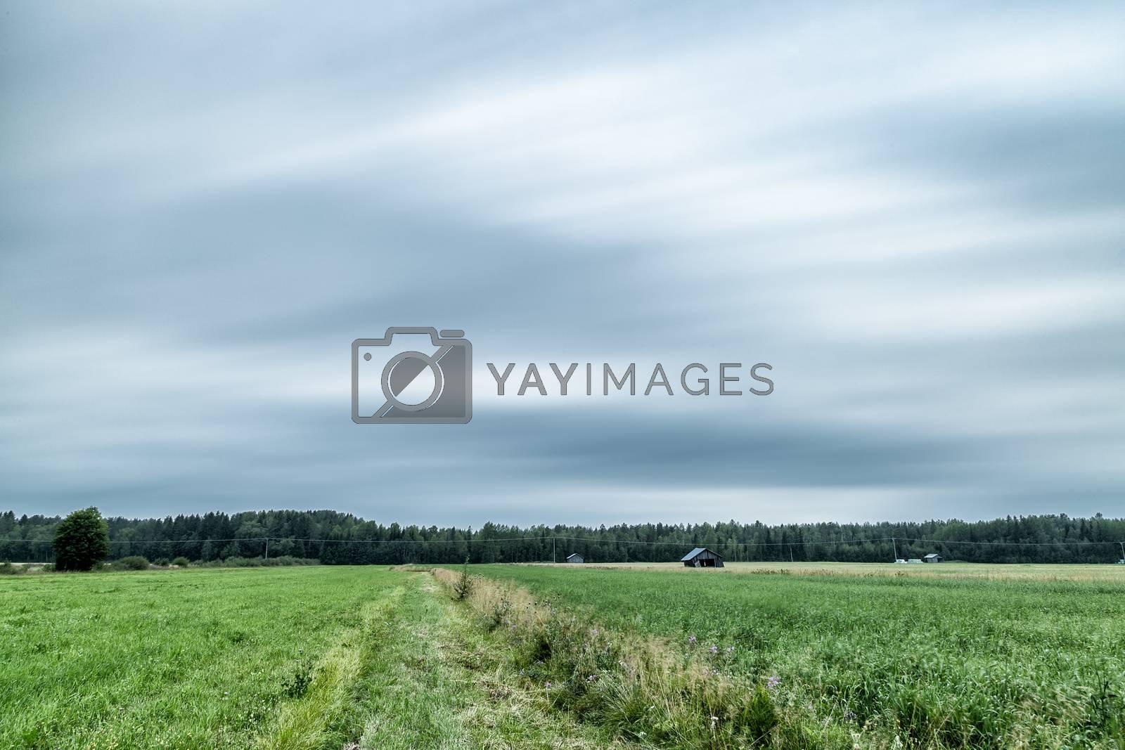 Barns in Farmfield with a cloudy sky.