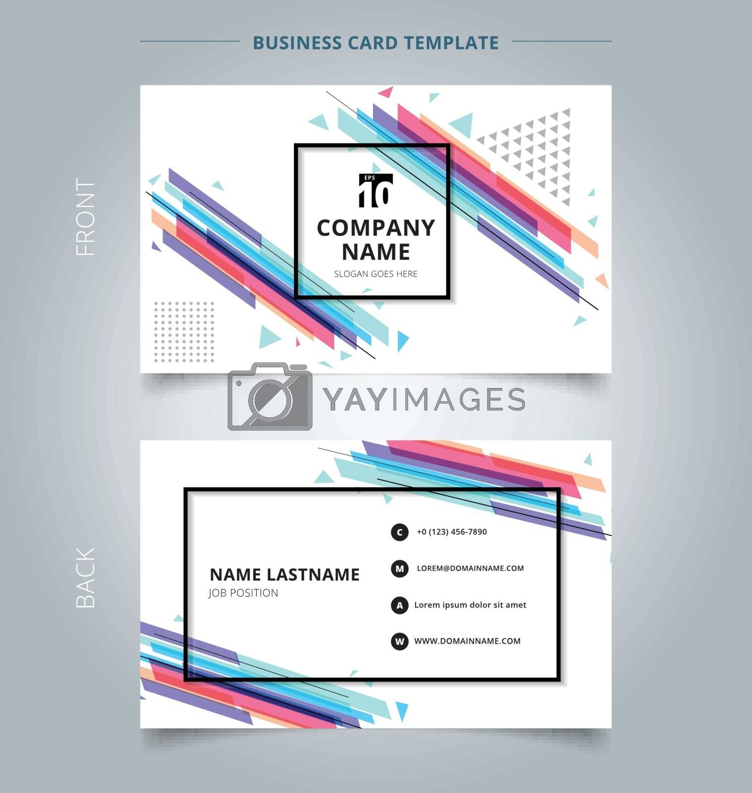 Namecard template colorful geometric pattern style abstract background. Vector illustration