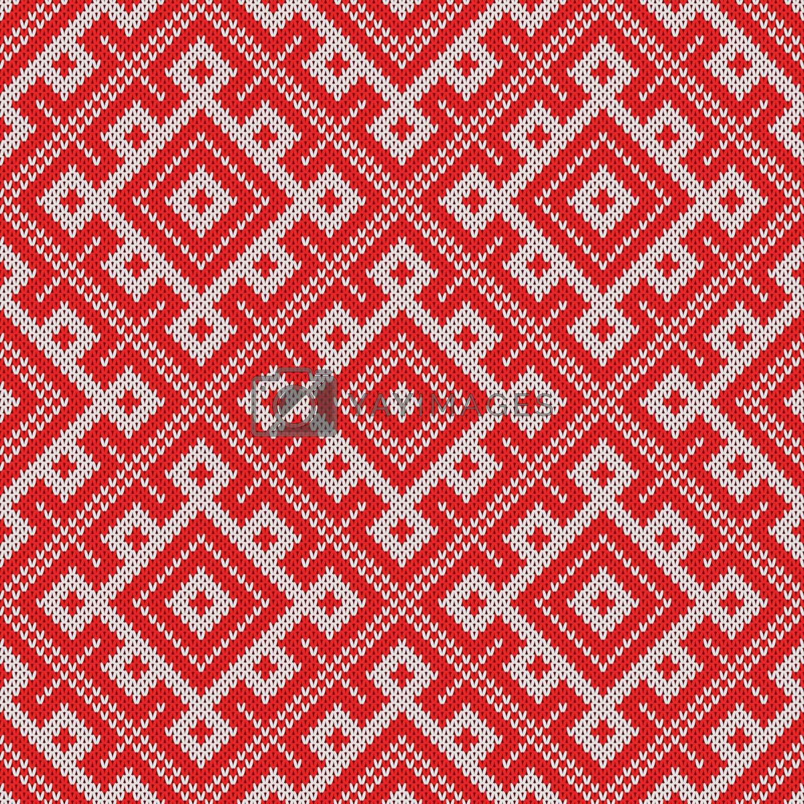 Seamless Knitting Pattern.Based on traditional Russian ornament.Red and white.Wool Knit Texture Imitation.
