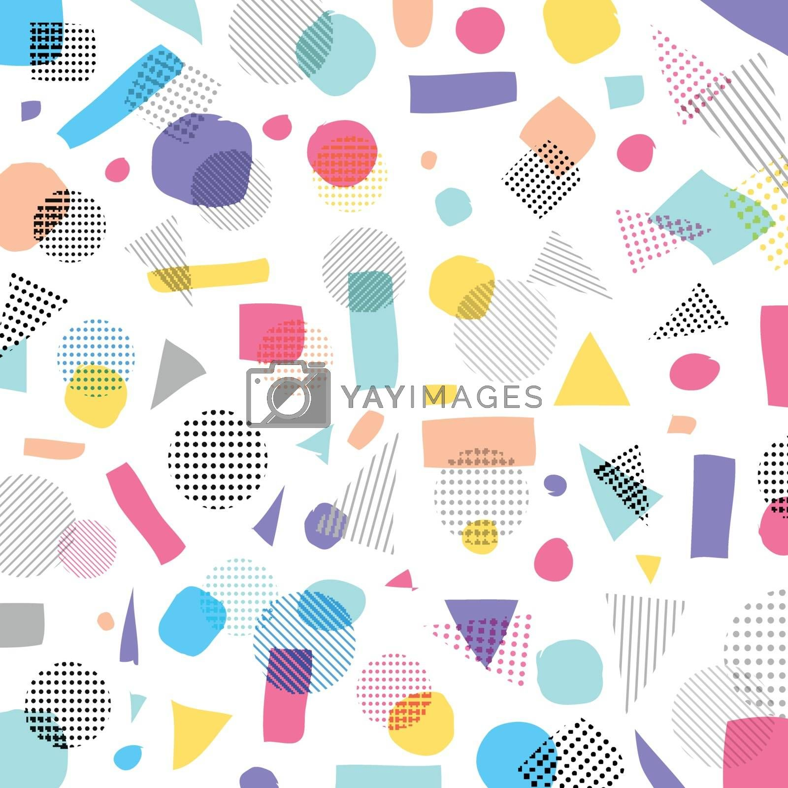 Abstract geometric modern pastels color, black dots pattern with lines diagonally on white background. Vector illustration