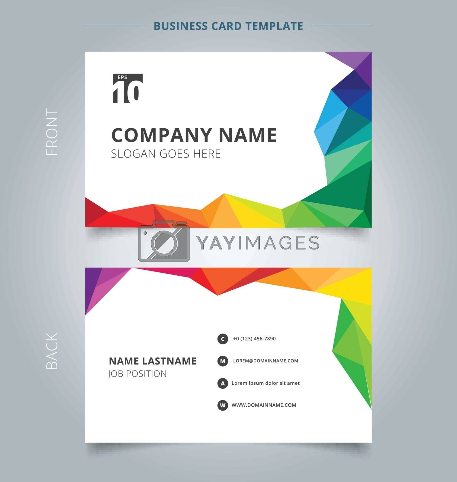 Business name card template design abstract colorful low polygon style on white background. Vector illustration