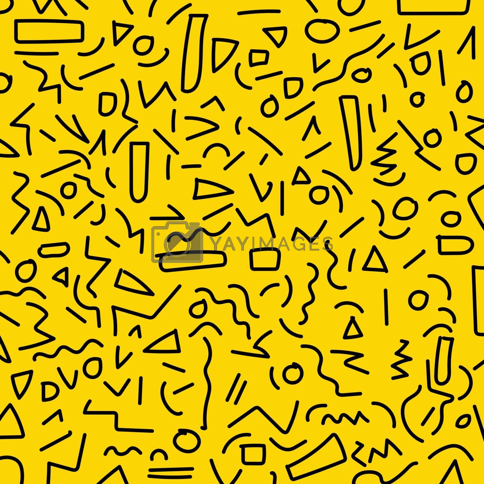Hand draw black geometric memphis pattern 80's-90's styles on yellow background. Vector Illustration