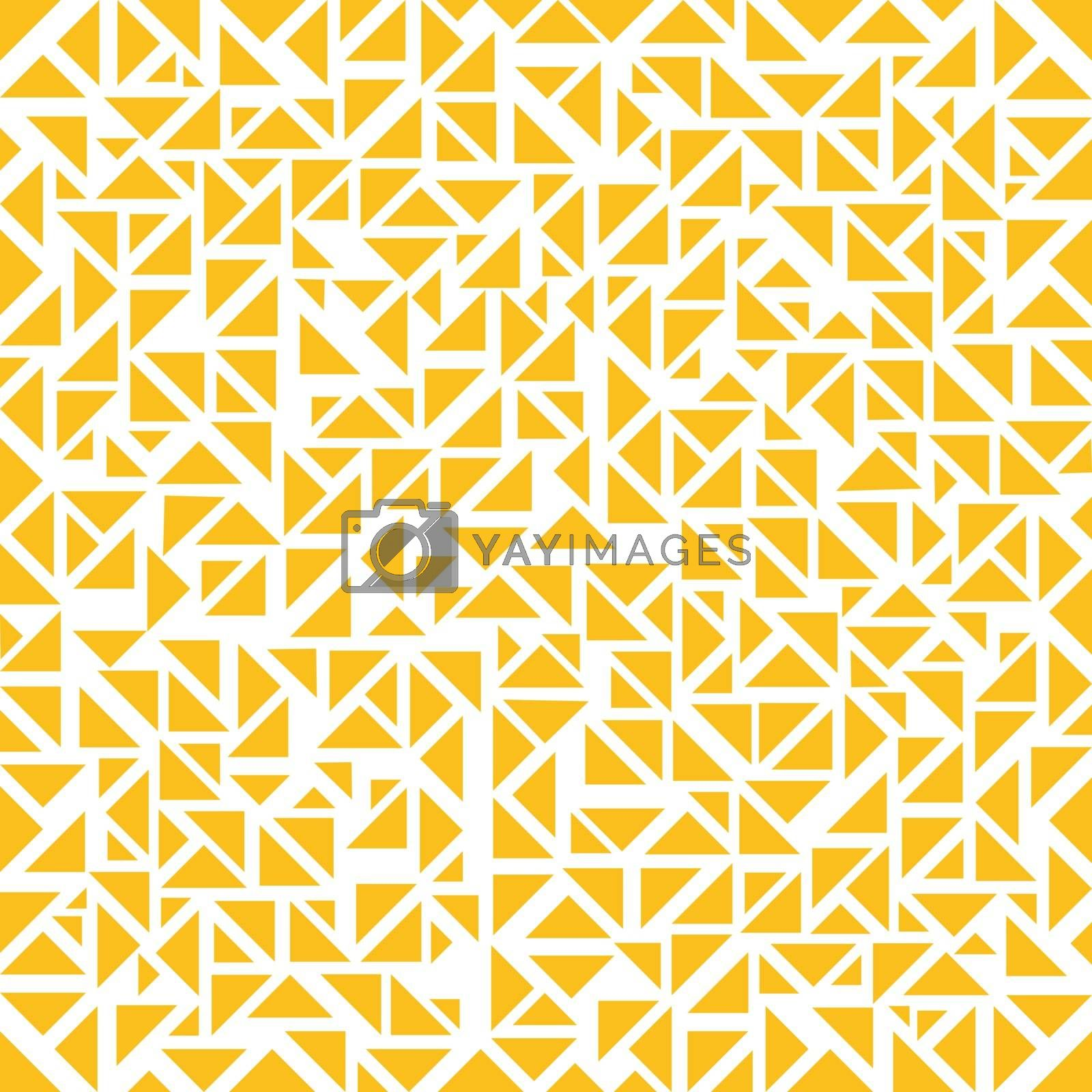 Abstract yellow triangles random pattern on white background. Vector illustration