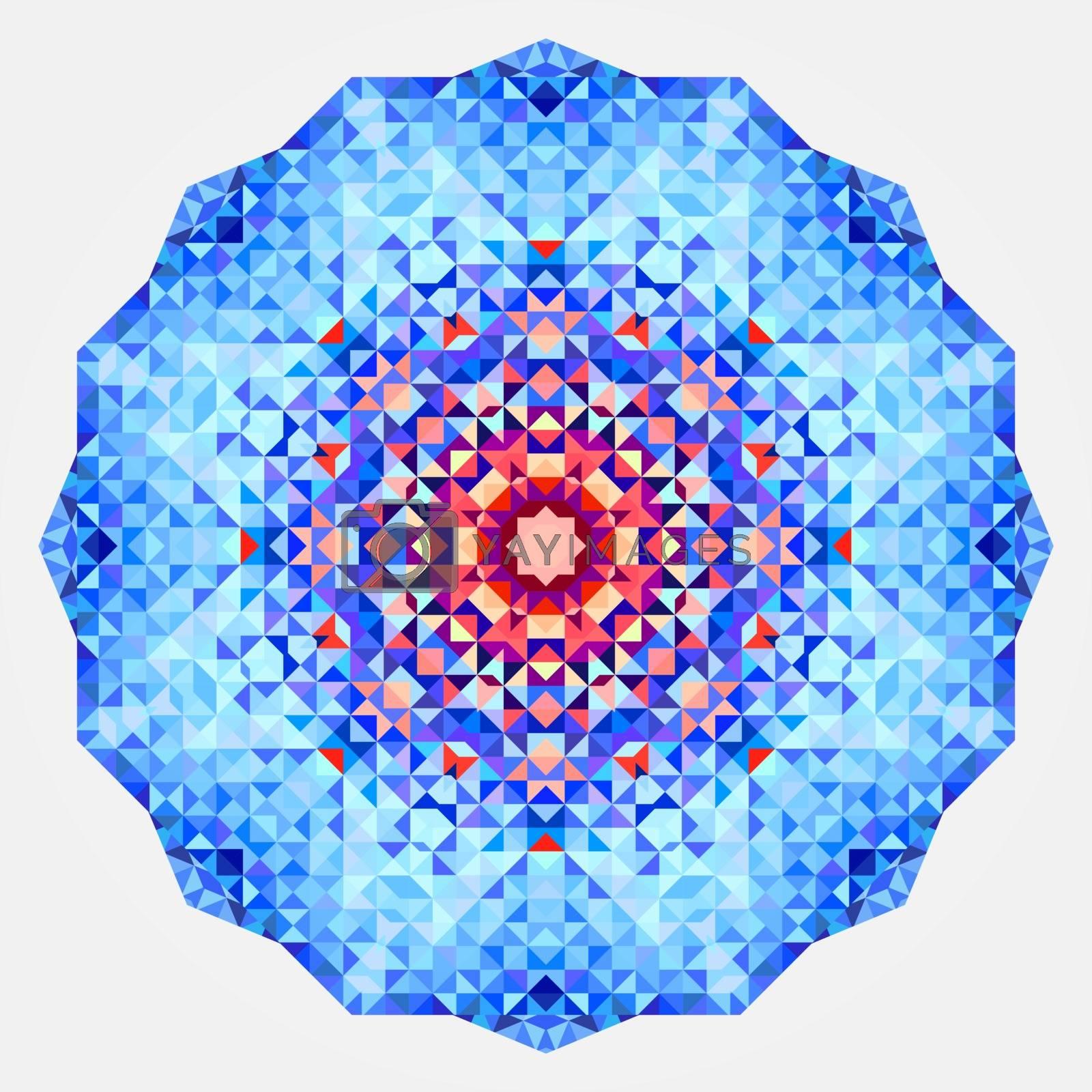 Round symmetrical digital ornament. Abstract Blue Red Mandala.