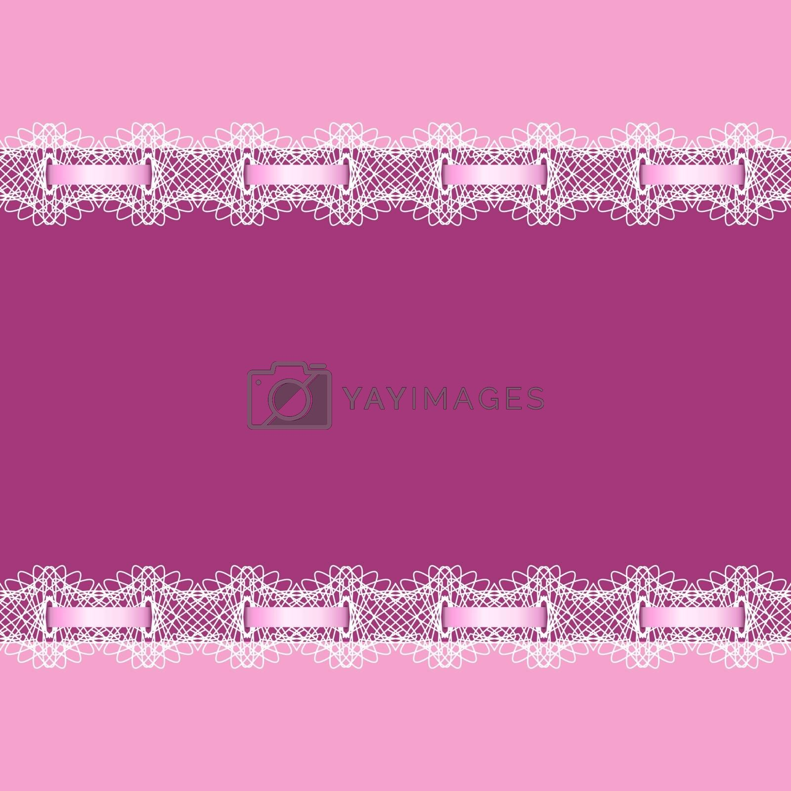 Abstract background decorated with lace and ribbon. Frame for message.