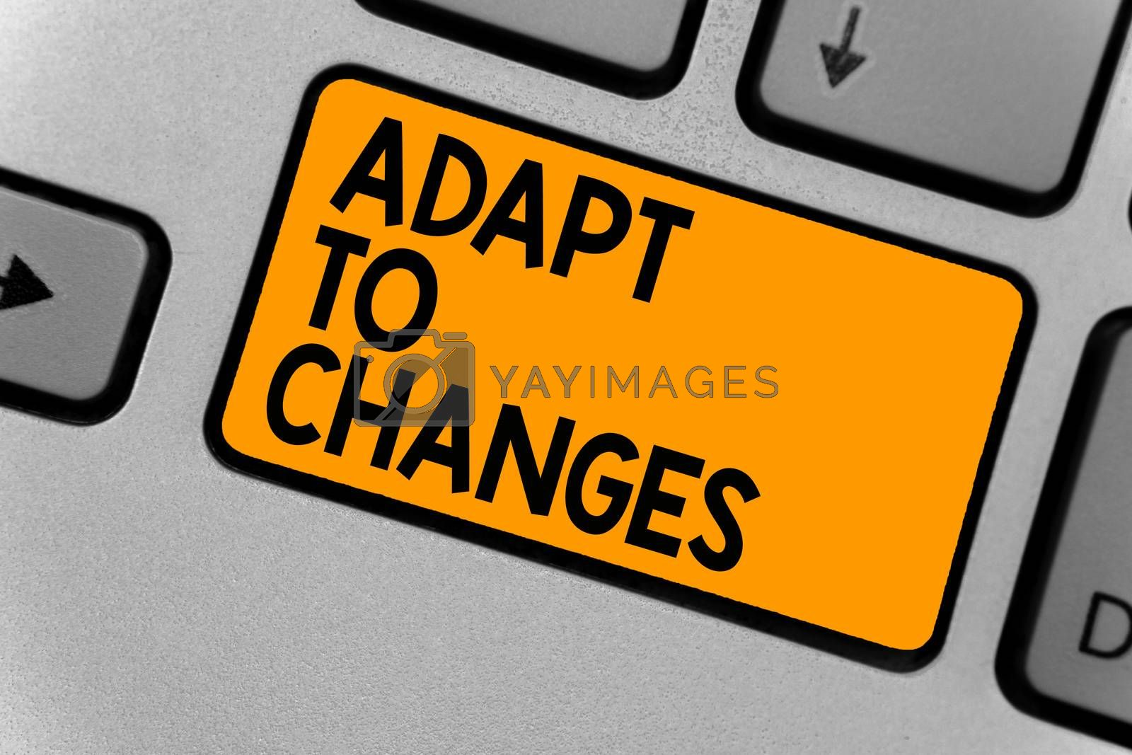 Word writing text Adapt To Changes. Business concept for Embrace new opportunities Growth Adaptation progress Keyboard orange key Intention create computer computing reflection document