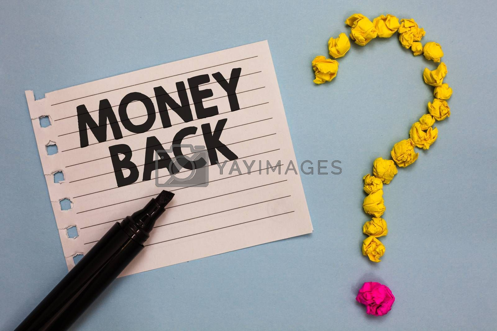 Word writing text Money Back. Business concept for get what you paid in return for defect or problem in product Paper marker crumpled papers forming question mark wooden background