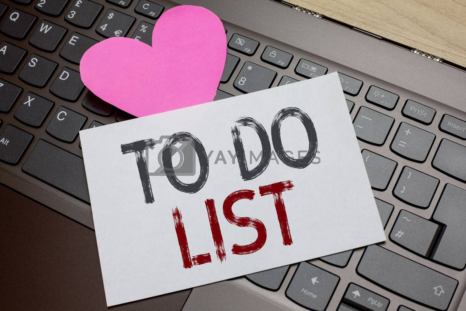 Word writing text To Do List. Business concept for A structure that usualy made in paper contining task of yours Paper Romantic lovely message Heart Keyboard Type computer Good feelings