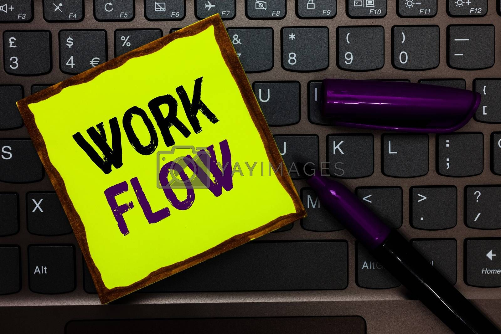 Handwriting text Work Flow. Concept meaning Continuity of a certain task to and from an office or employer Yellow paper keyboard Inspiration communicate ideas messages black markers