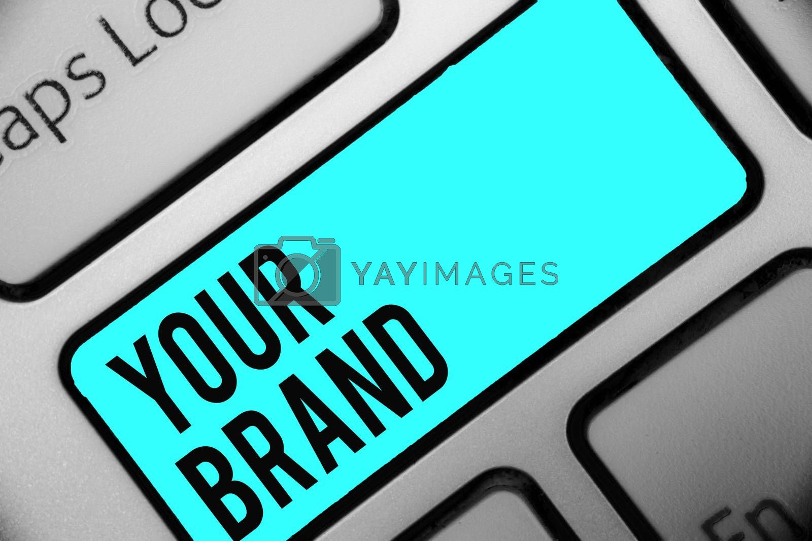 Word writing text Your Brand. Business concept for A name of any kind that is impacted to something as trademark Keyboard blue key Intention create computer computing reflection document