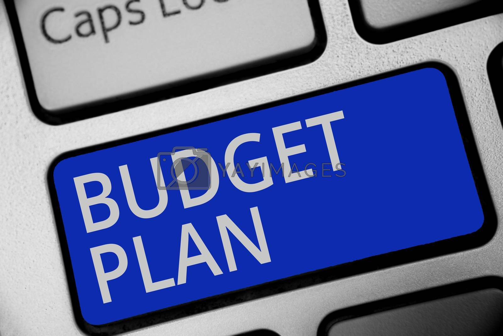 Handwriting text writing Budget Plan. Concept meaning financial schedule for a defined period of time usually year Keyboard blue key Intention create computer computing reflection document