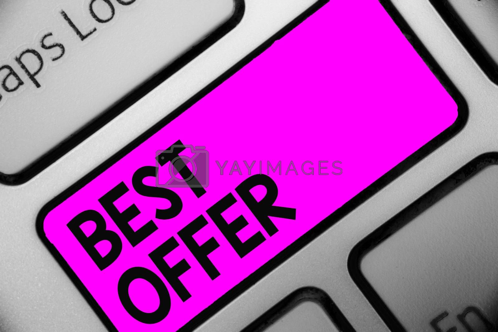 Word writing text Best Offer. Business concept for To convince someone by rendering all the greatness you can give Keyboard purple key Intention create computer computing reflection document