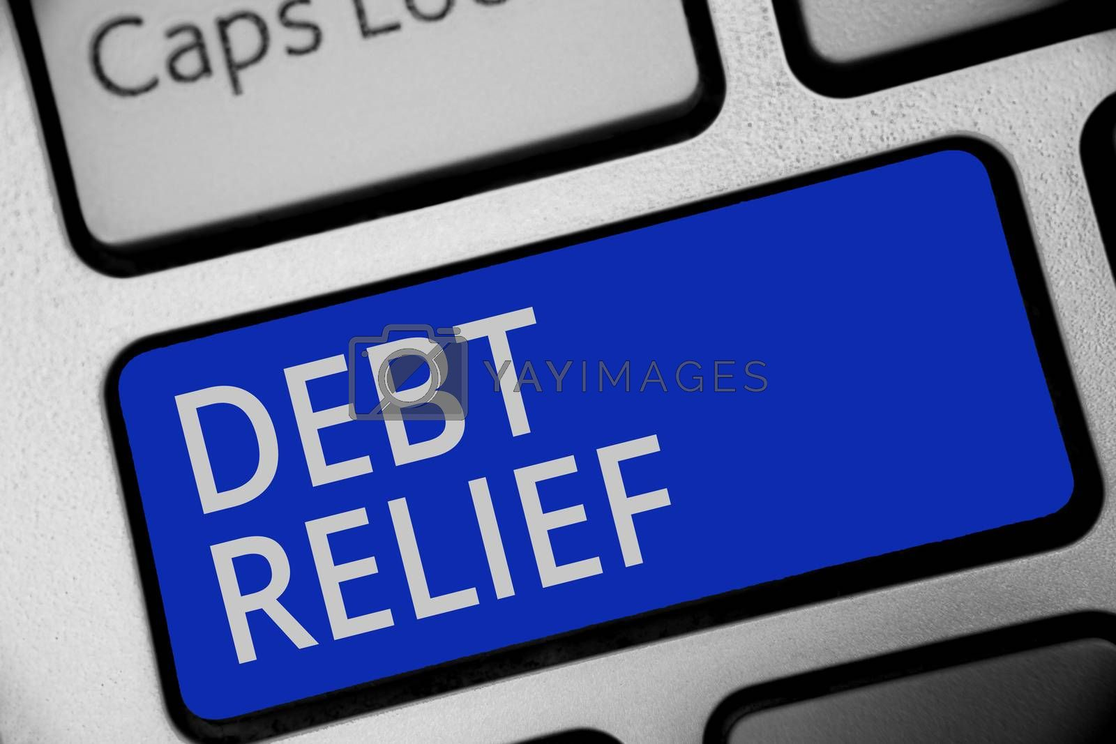 Handwriting text writing Debt Relief. Concept meaning partial or total remission of it especially those by countries Keyboard blue key Intention create computer computing reflection document