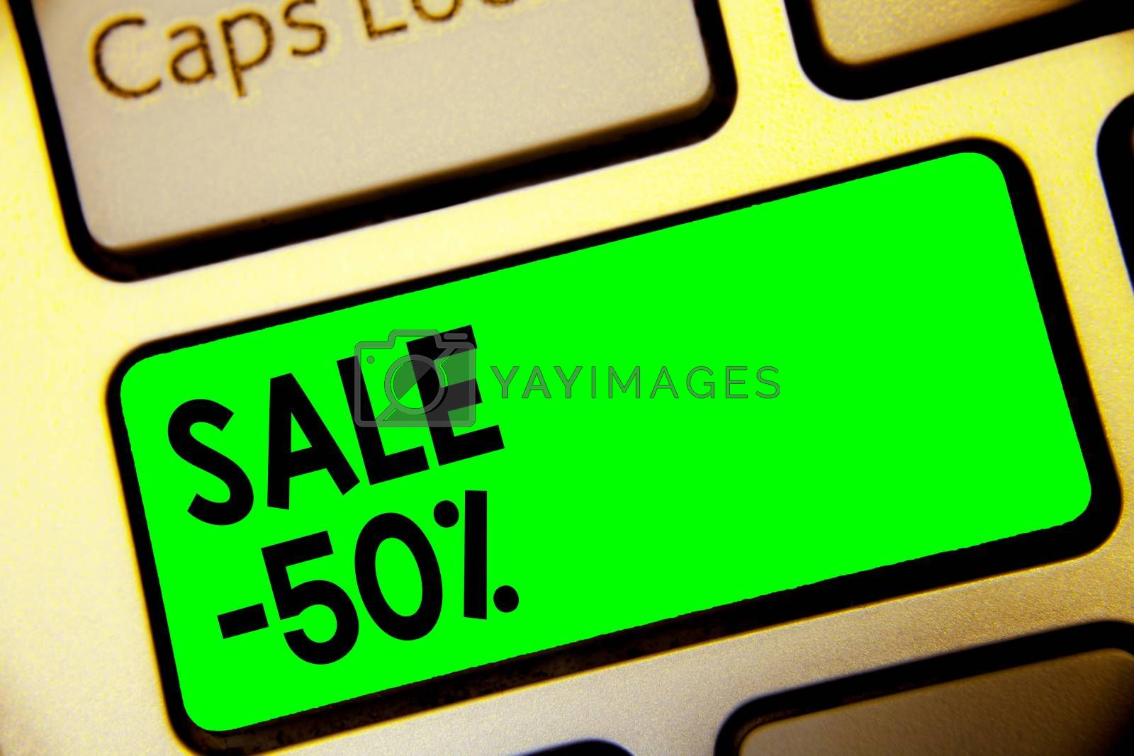 Word writing text Sale 50. Business concept for A promo price of an item at 50 percent markdown Keyboard green key Intention create computer computing reflection document
