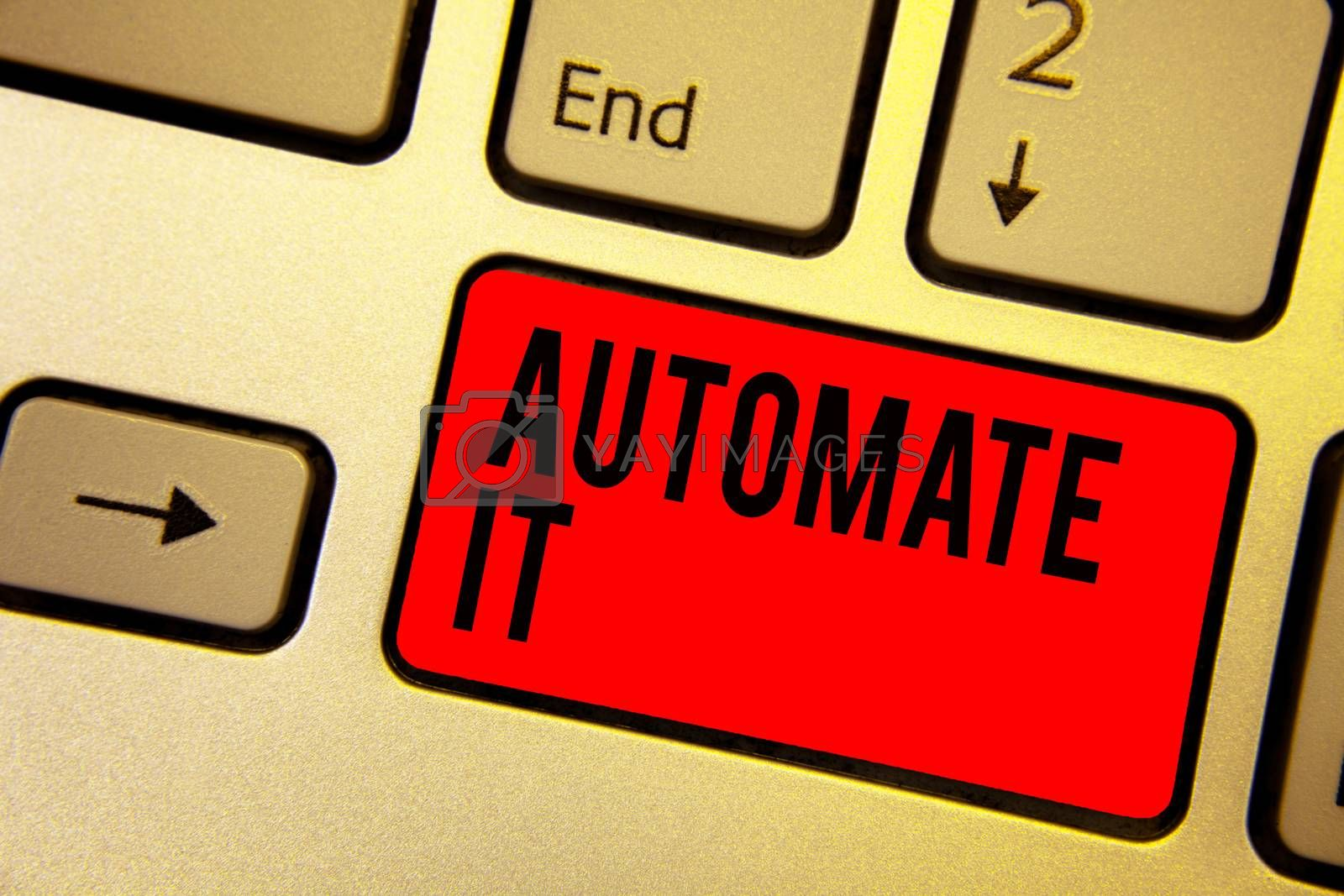 Handwriting text writing Automate It. Concept meaning convert process or facility to be operated automatic equipment. Keyboard red key Intention create computer computing reflection document