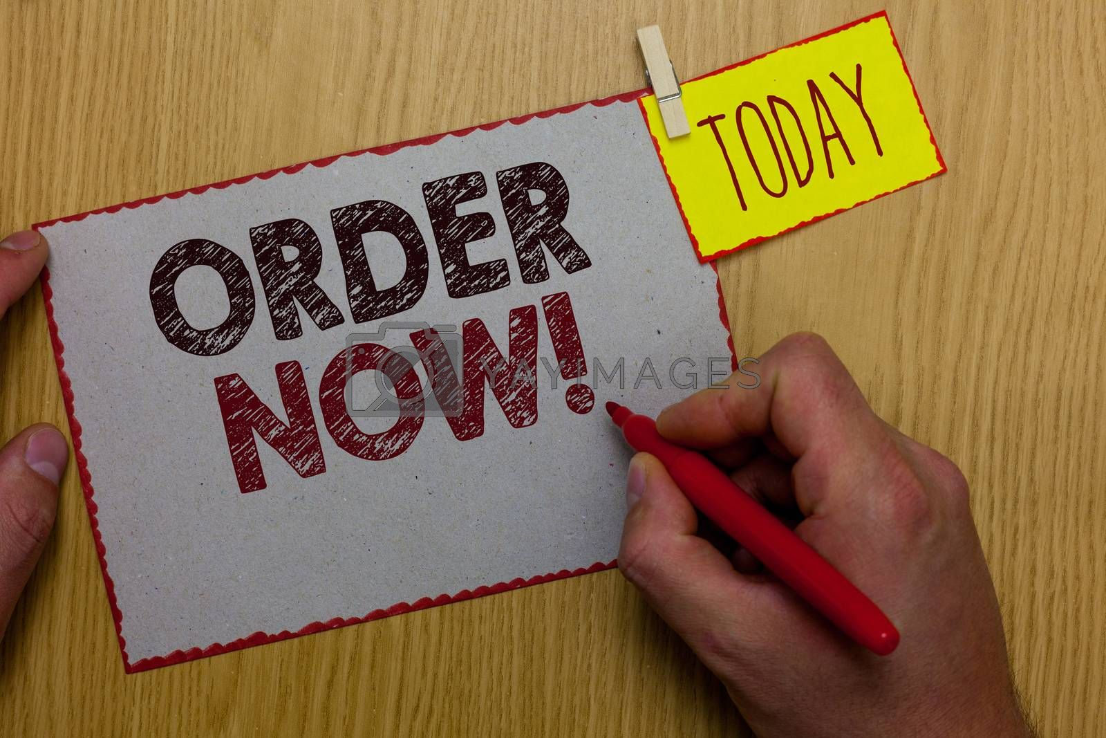 Word writing text Order Now. Business concept for service restaurants or stores provide to get what you need home Man holding marker paper clothespin reminder express ideas wooden table