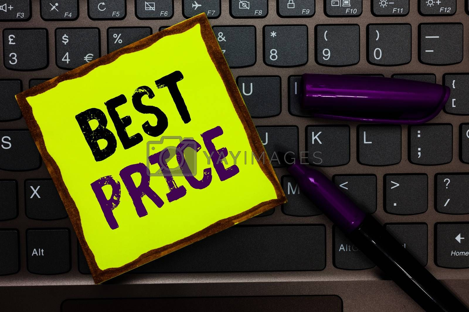 Handwriting text Best Price. Concept meaning Buyer or seller can obtain something for a product sold or buy Yellow paper keyboard Inspiration communicate ideas messages black markers