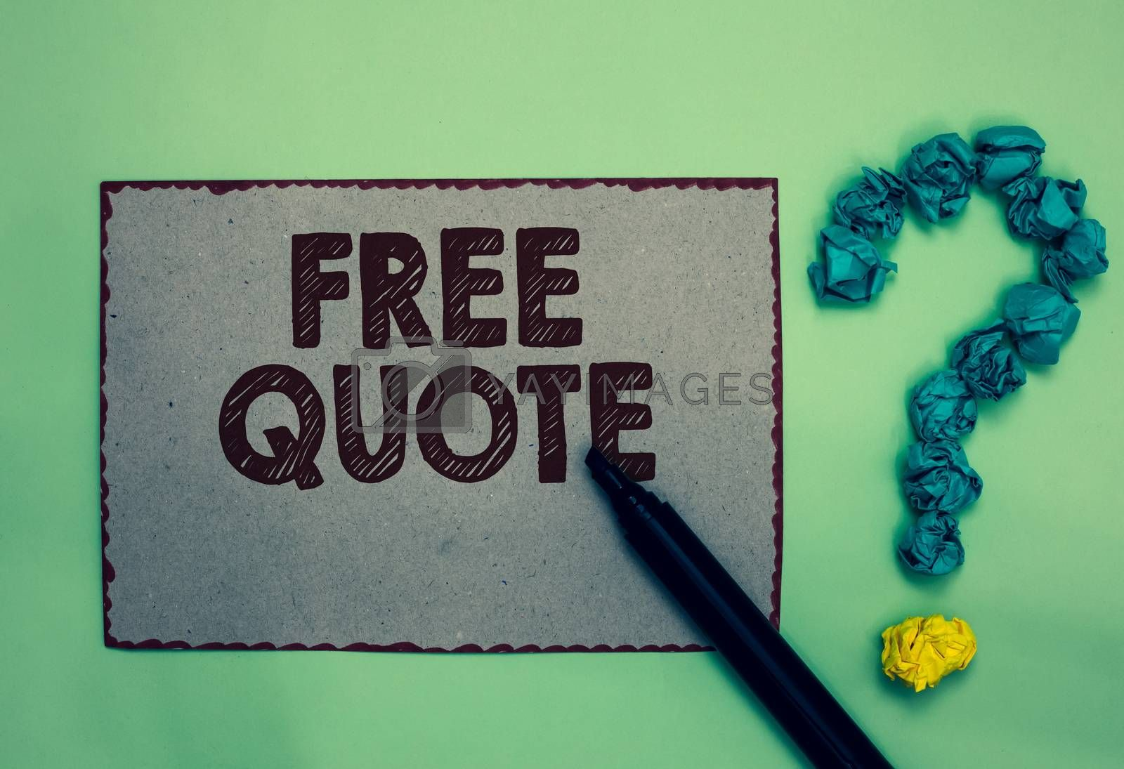 Word writing text Free Quote. Business concept for A brief phrase that is usualy has impotant message to convey Gray paper marker crumpled papers forming question mark green background. by Artur Szczybylo