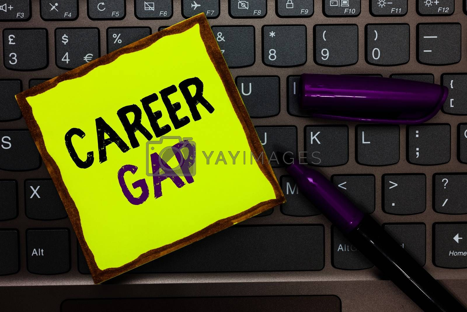 Handwriting text Career Gap. Concept meaning A scene where in you stop working by your profession for a while Yellow paper keyboard Inspiration communicate ideas messages black markers