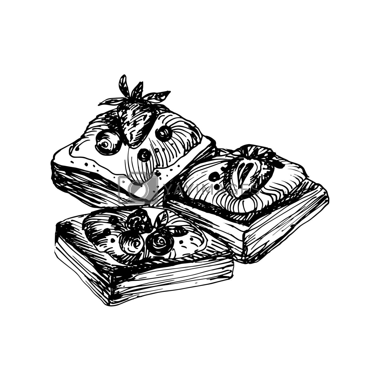 Hand Drawn Sketch of Delicious Pastries with Berries. Vintage Sketch. Great for Banner, Label, Poster