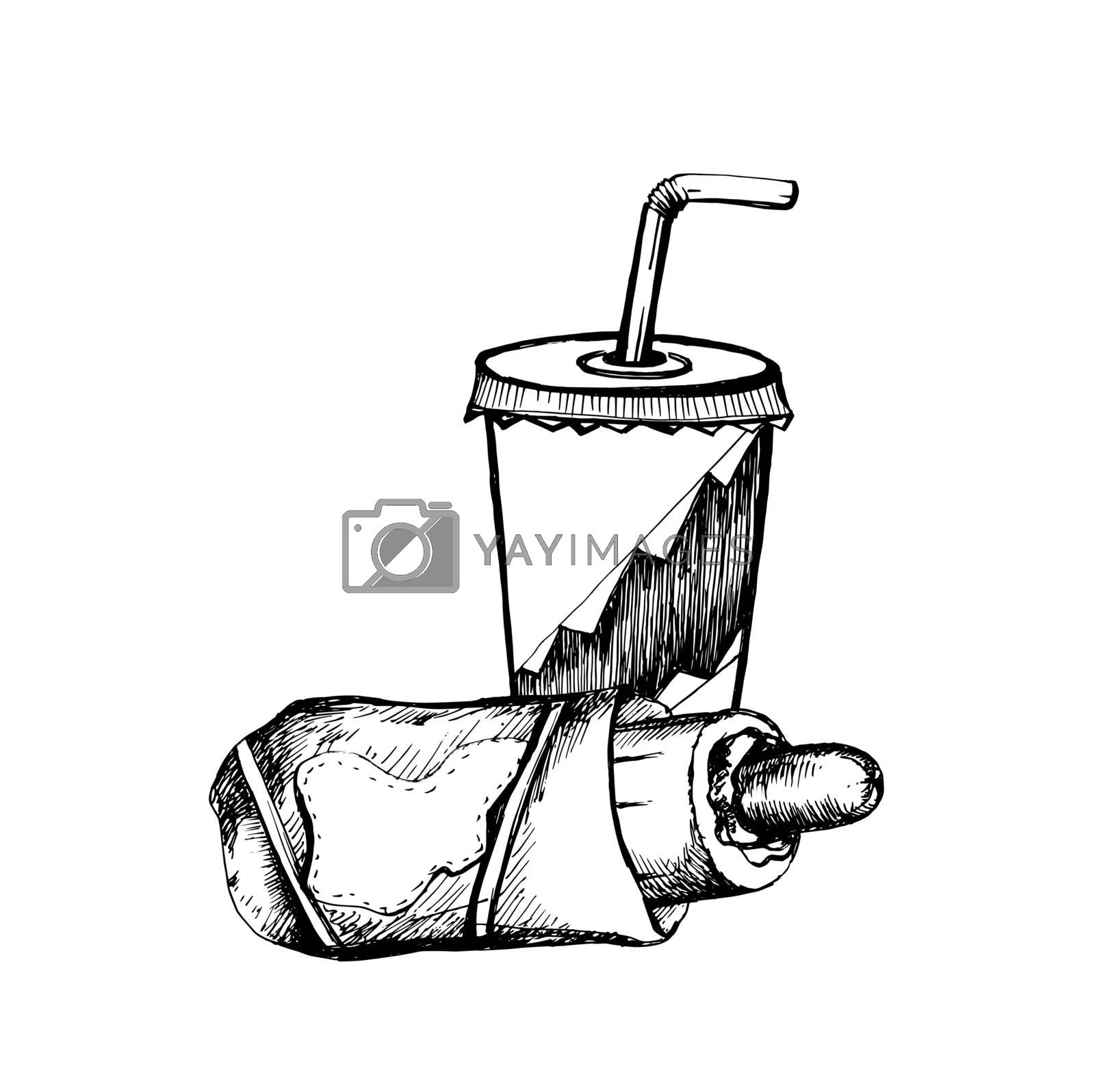 Hand Drawn Sketch of Soda Cup with Straw and Hot Dog. Vintage Sketch. Great for Banner, Label, Poster