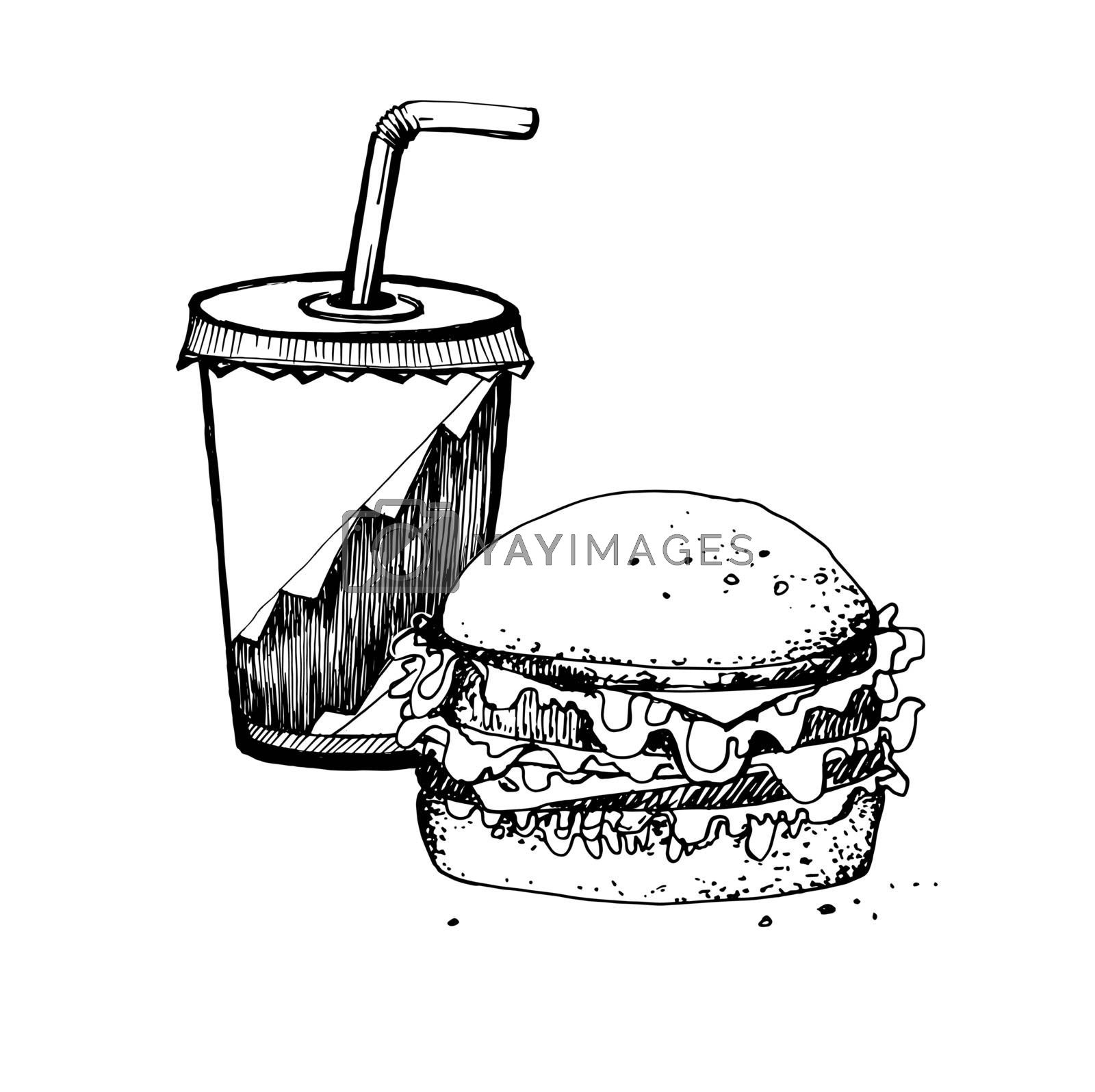 Hand Drawn Sketch of Big Hamburger and Soda Cup. Vintage Sketch. Great for Banner, Label, Poster