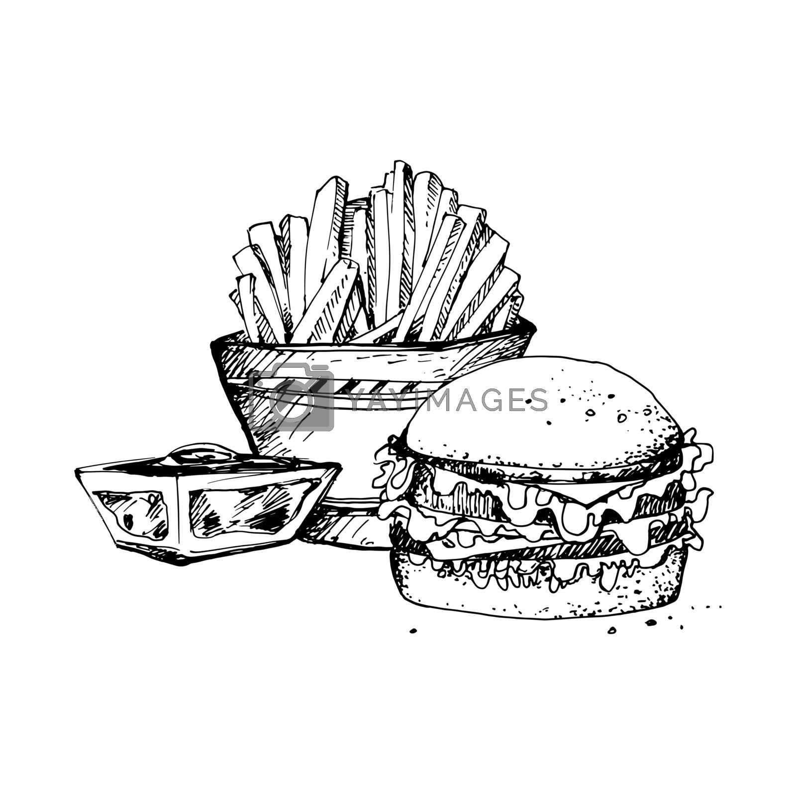 Hand Drawn Sketch of Fast Food. Vintage Sketch. Great for Banner, Poster