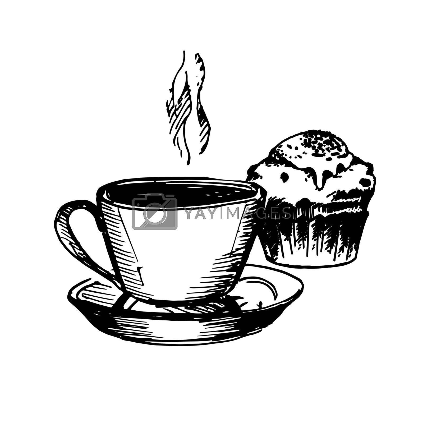 Hand Drawn Sketch of Coffe Cup and Cake. Vintage Sketch. Great for Banner, Label, Poster