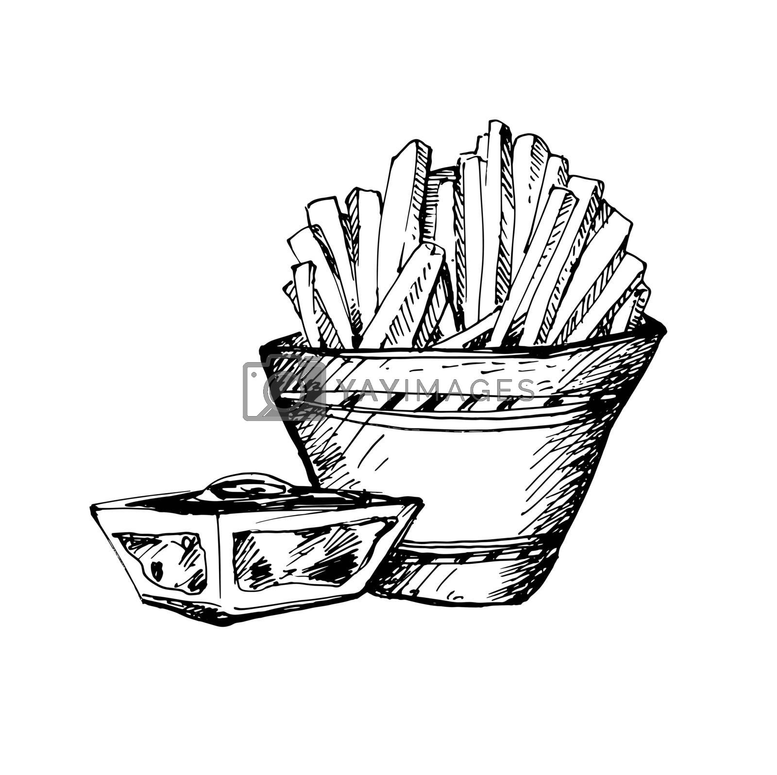 Hand Drawn Sketch of Fast Food. Great for Banner or Label