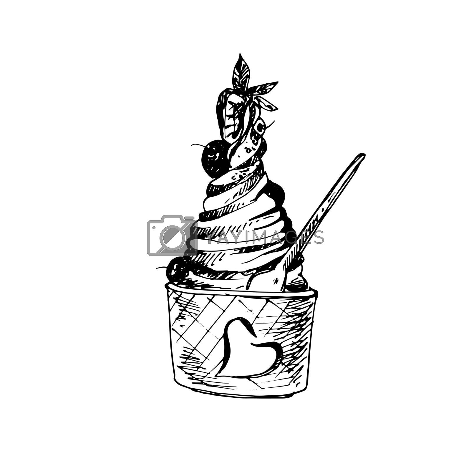 Hand Drawn Sketch of Ice Cream in Bowl. Great for Banner, Label, Poster