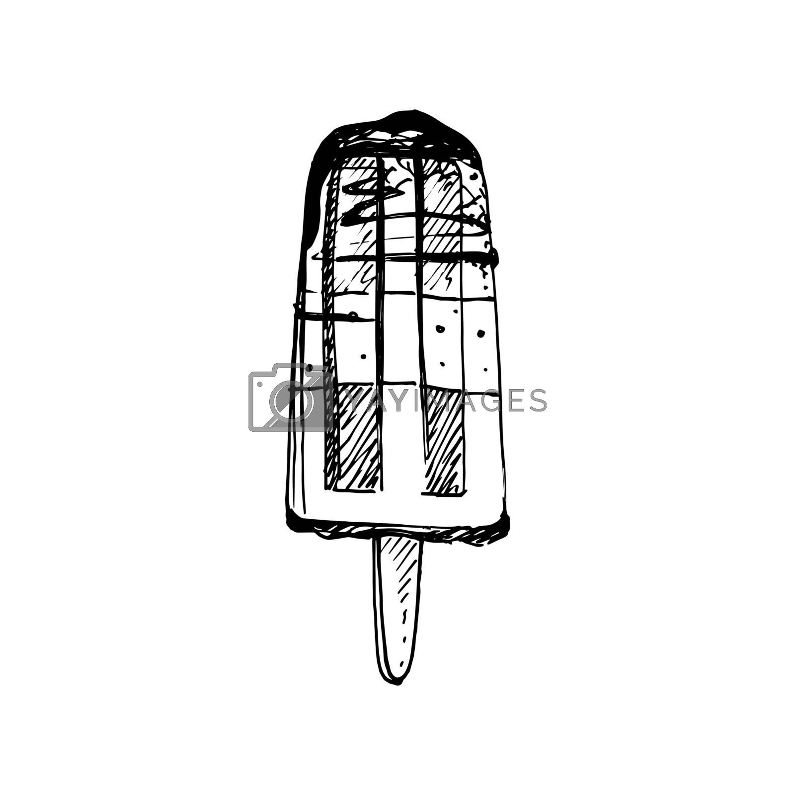 Hand Drawn Sketch of Ice Cream on Stick. Great for Banner, Label, Poster
