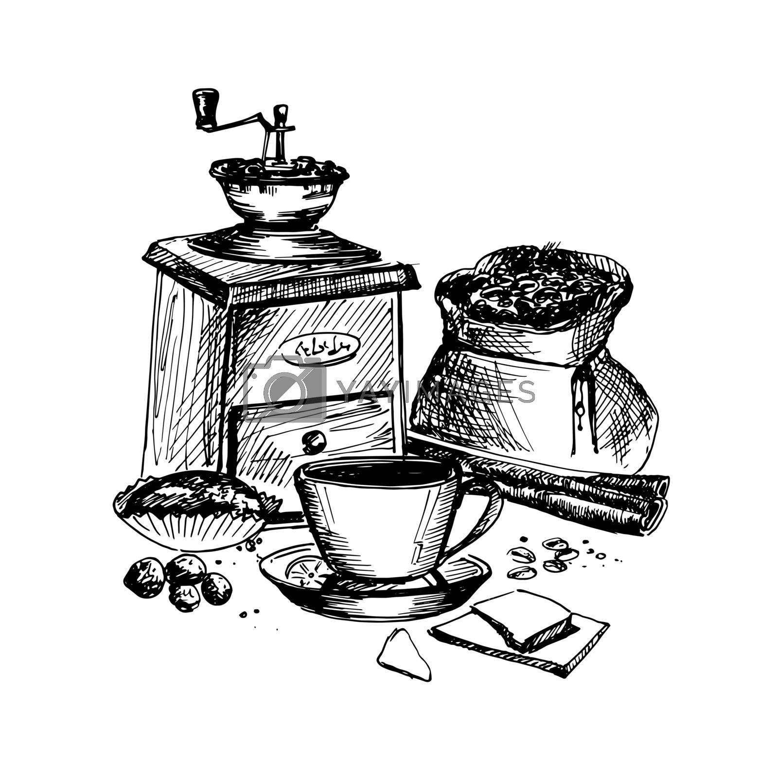 Hand Drawn Sketch of Coffee Theme. Vintage Sketch. Great for Banner, Label, Poster