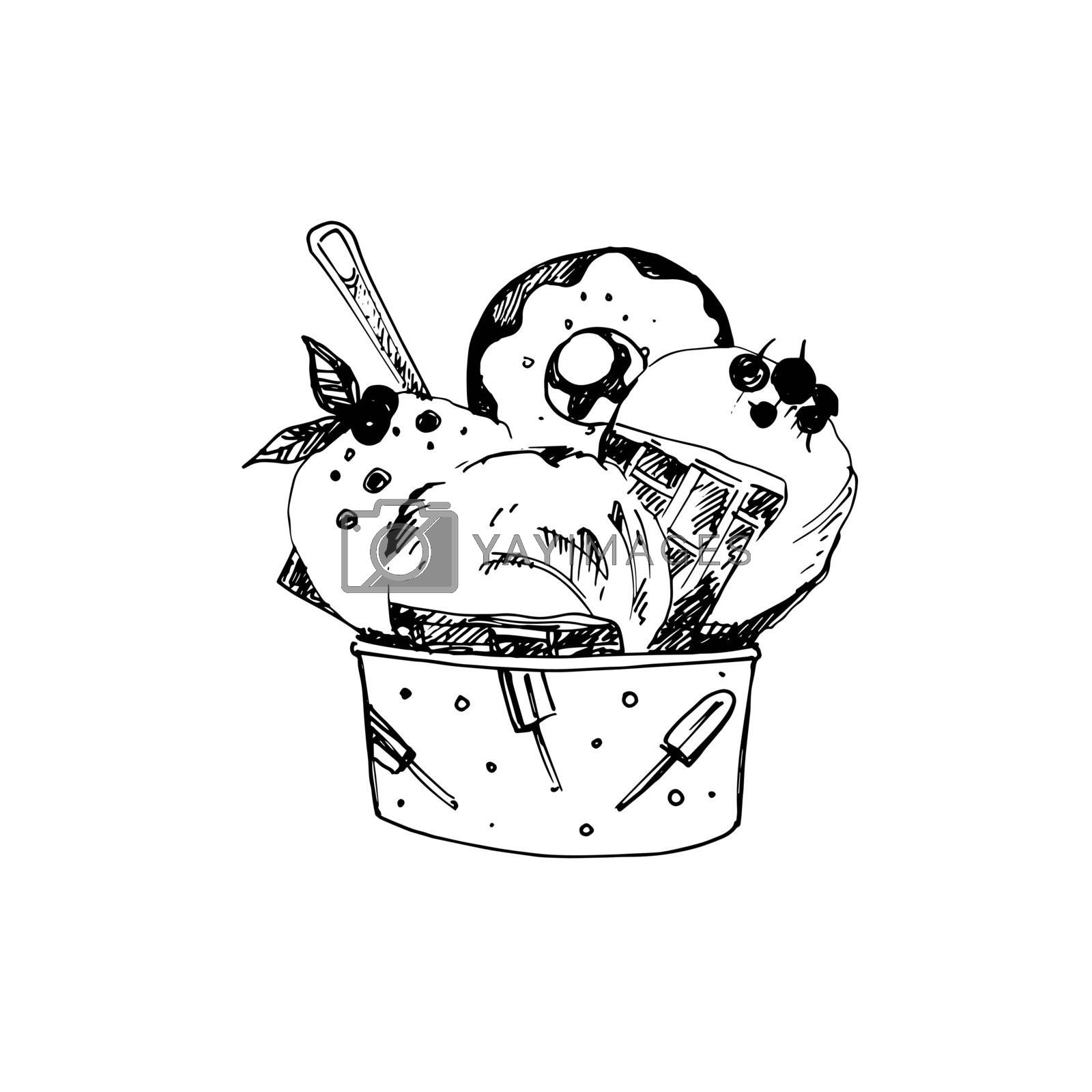 Hand Drawn Sketch of Ice Cream in Bowl. Vintage Sketch. Great for Banner and Label
