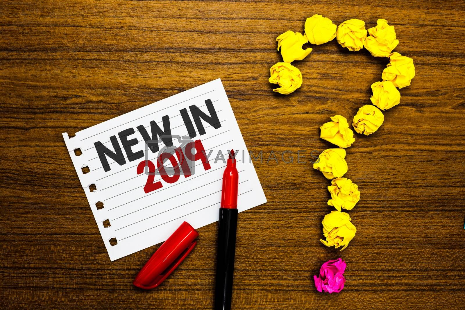 Handwriting text New In 2019. Concept meaning list of fresh things got introduced this year or the next Paper marker crumpled papers forming question mark wooden background