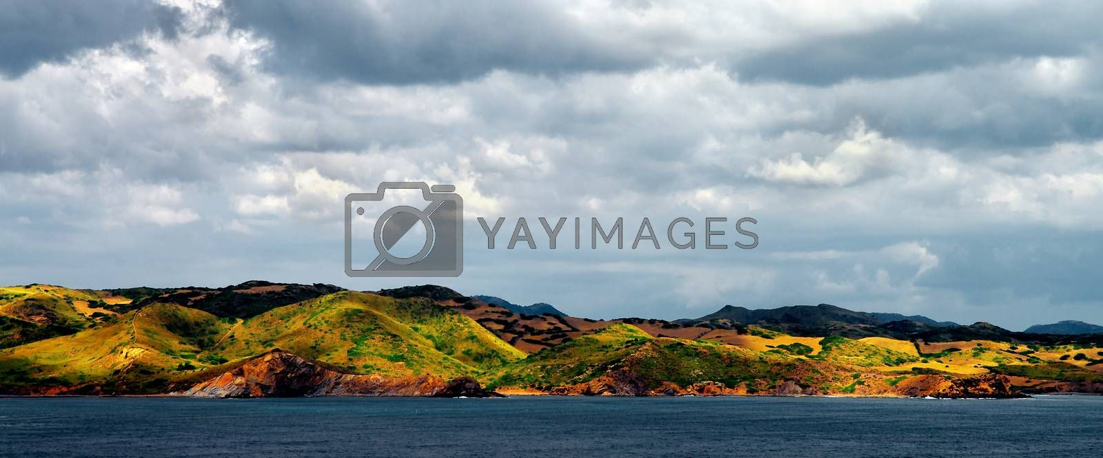 Spectacular Mediterranean Landscape on Hill Side of North Coast of Menorca in Cloudy Day Outdoors. Balearic Islands
